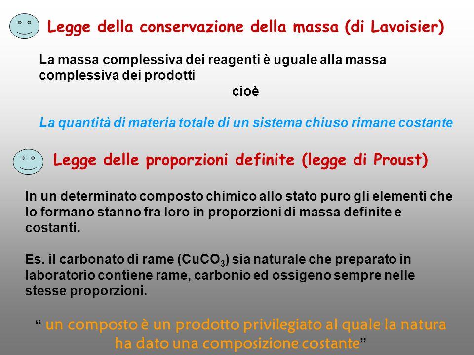 Legge della conservazione della massa (di Lavoisier)