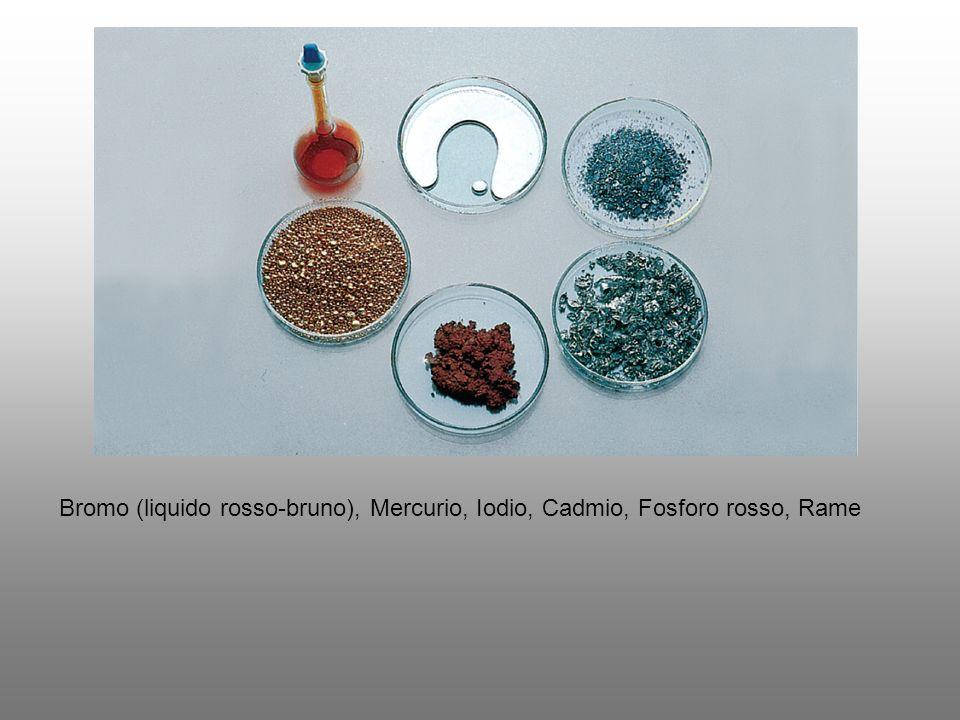 Bromo (liquido rosso-bruno), Mercurio, Iodio, Cadmio, Fosforo rosso, Rame