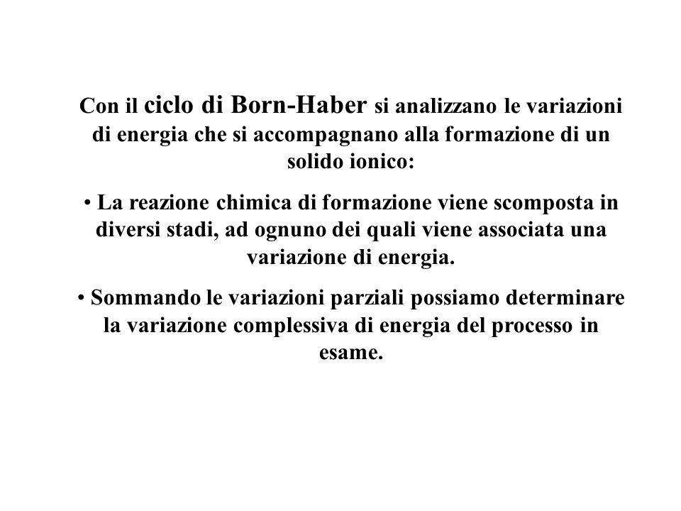 Con il ciclo di Born-Haber si analizzano le variazioni di energia che si accompagnano alla formazione di un solido ionico: