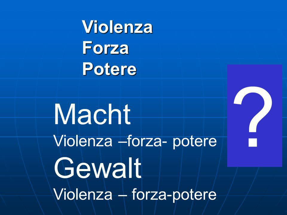 Macht Gewalt Violenza Forza Potere Violenza –forza- potere