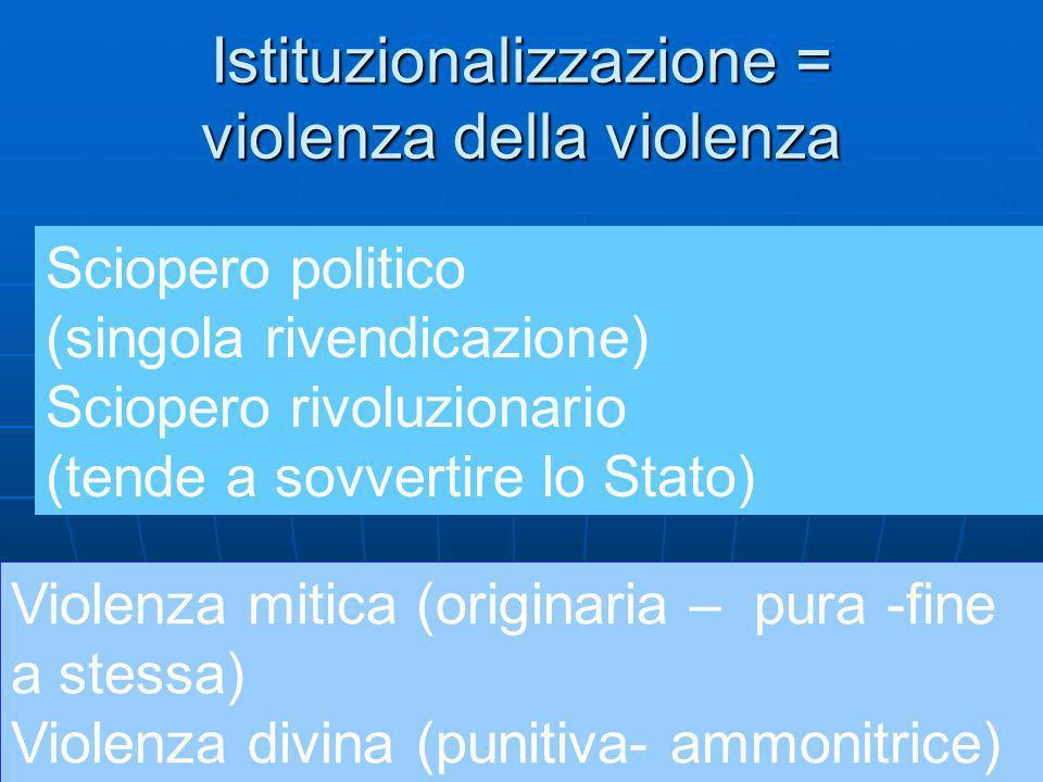 Istituzionalizzazione = violenza della violenza