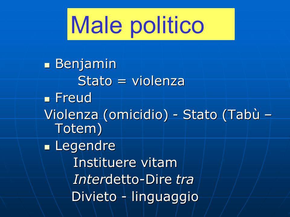 Male politico Benjamin Stato = violenza Freud