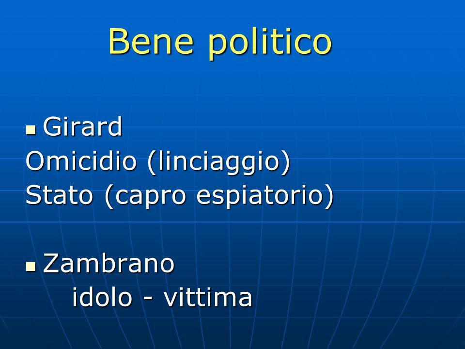 Bene politico Girard Omicidio (linciaggio) Stato (capro espiatorio)