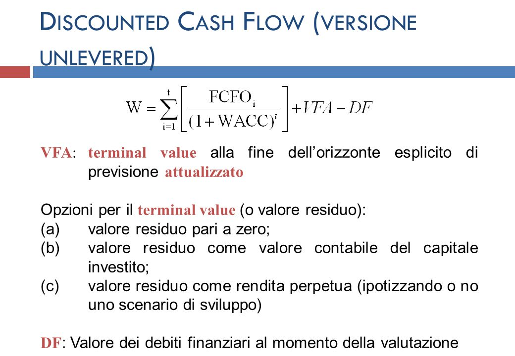 Discounted Cash Flow (versione unlevered)