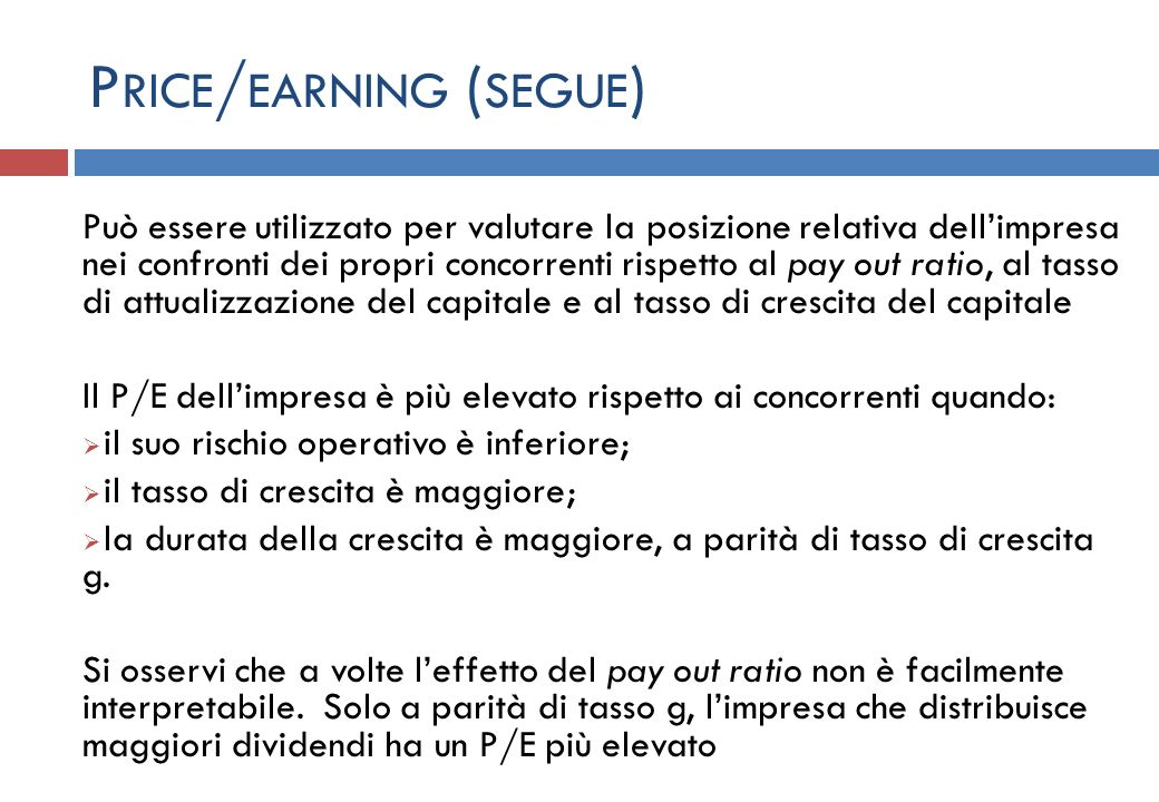 Price/earning (segue)