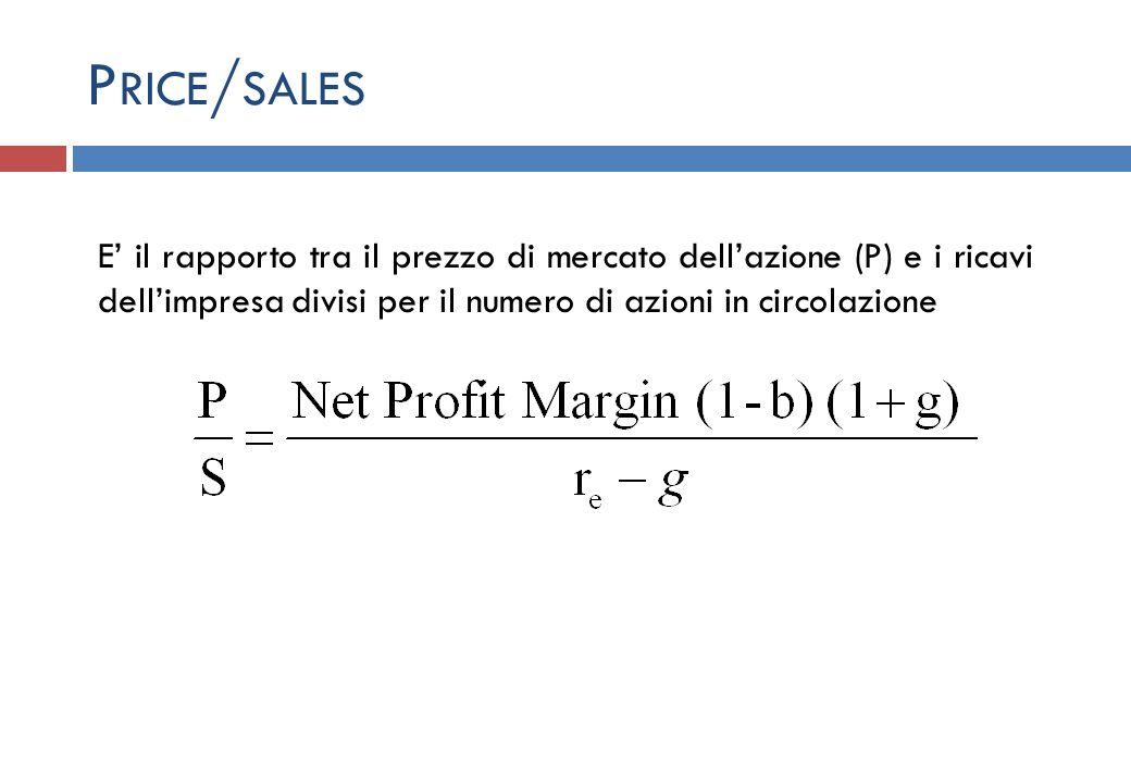 Price/sales E' il rapporto tra il prezzo di mercato dell'azione (P) e i ricavi dell'impresa divisi per il numero di azioni in circolazione.