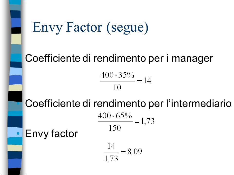Envy Factor (segue) Coefficiente di rendimento per i manager