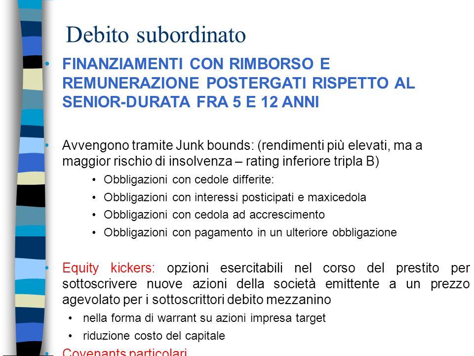Debito subordinato FINANZIAMENTI CON RIMBORSO E REMUNERAZIONE POSTERGATI RISPETTO AL SENIOR-DURATA FRA 5 E 12 ANNI.