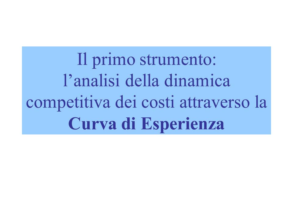 Il primo strumento: l'analisi della dinamica competitiva dei costi attraverso la Curva di Esperienza