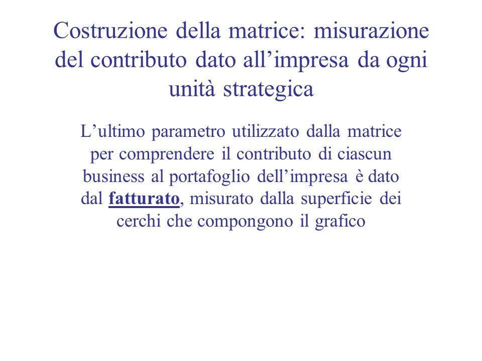 Costruzione della matrice: misurazione del contributo dato all'impresa da ogni unità strategica