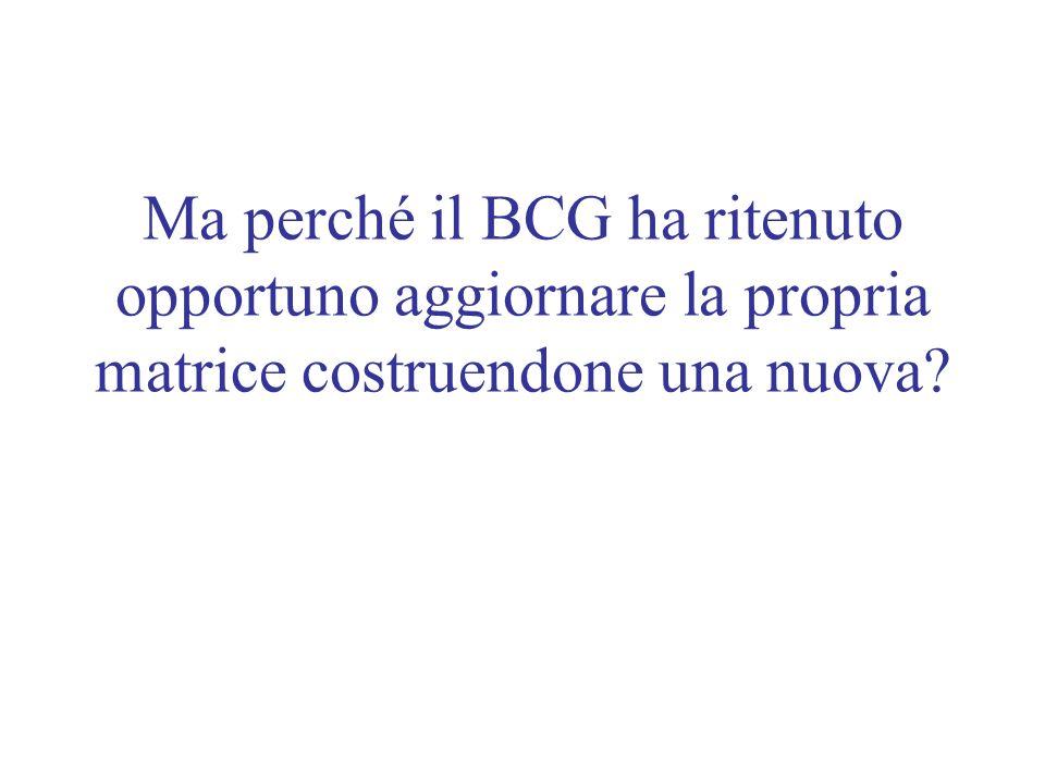Ma perché il BCG ha ritenuto opportuno aggiornare la propria matrice costruendone una nuova