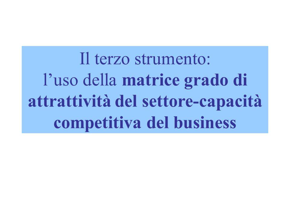 Il terzo strumento: l'uso della matrice grado di attrattività del settore-capacità competitiva del business