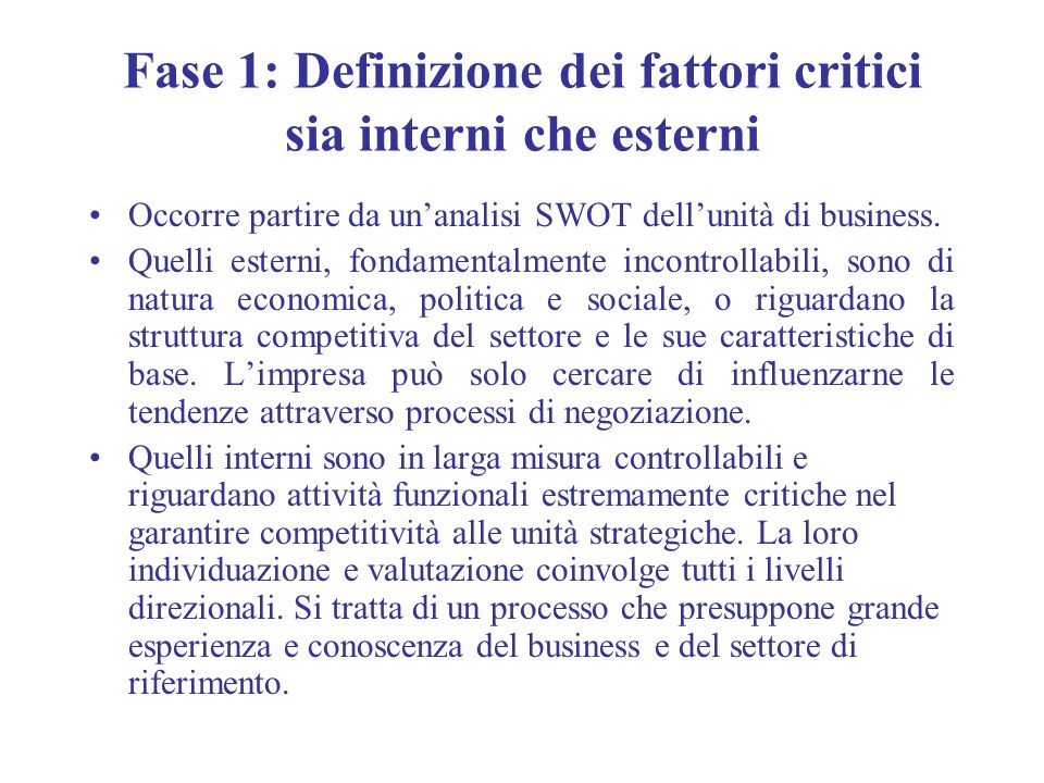 Fase 1: Definizione dei fattori critici sia interni che esterni