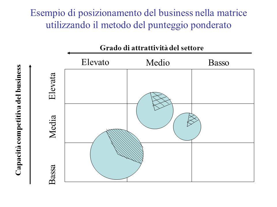 Esempio di posizionamento del business nella matrice utilizzando il metodo del punteggio ponderato