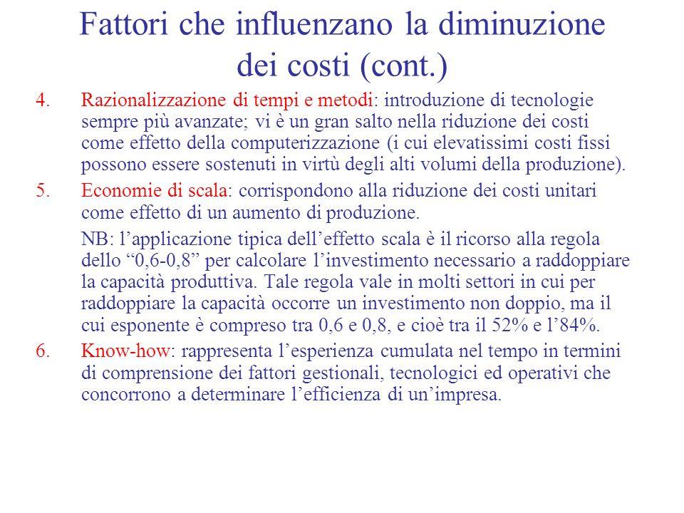 Fattori che influenzano la diminuzione dei costi (cont.)