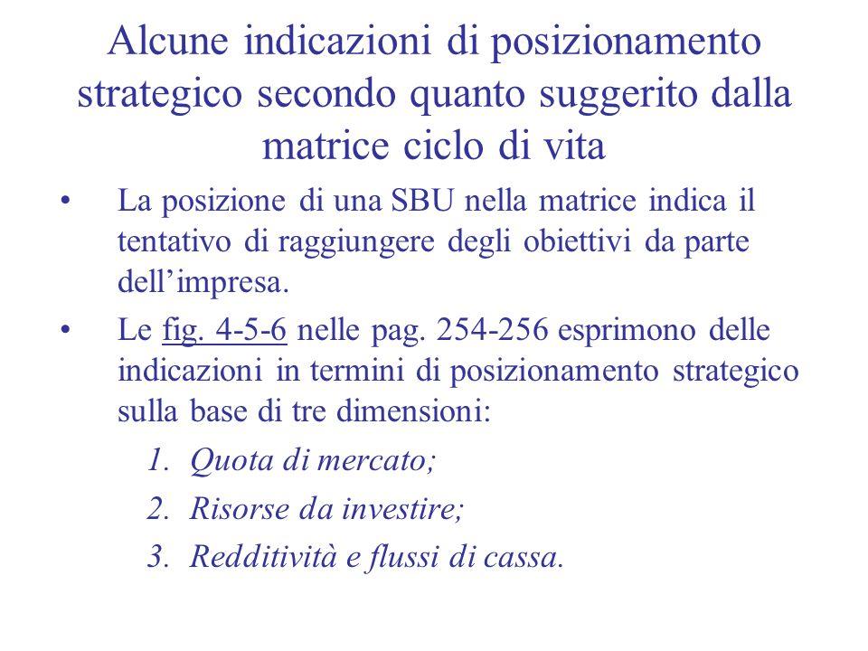 Alcune indicazioni di posizionamento strategico secondo quanto suggerito dalla matrice ciclo di vita
