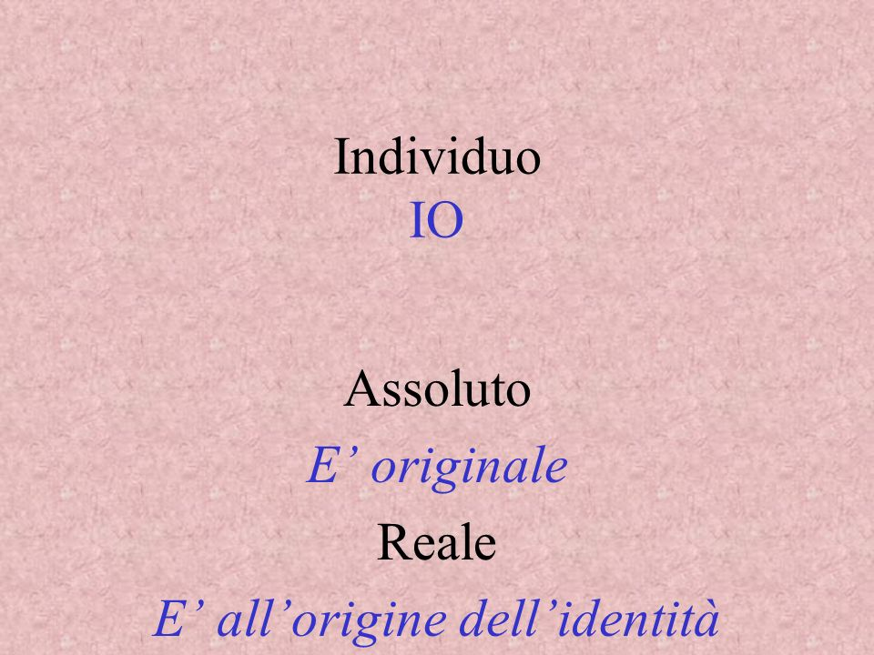 Assoluto E' originale Reale E' all'origine dell'identità