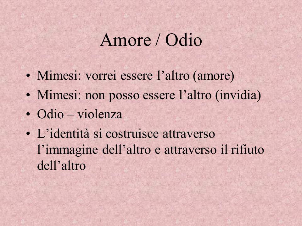 Amore / Odio Mimesi: vorrei essere l'altro (amore)
