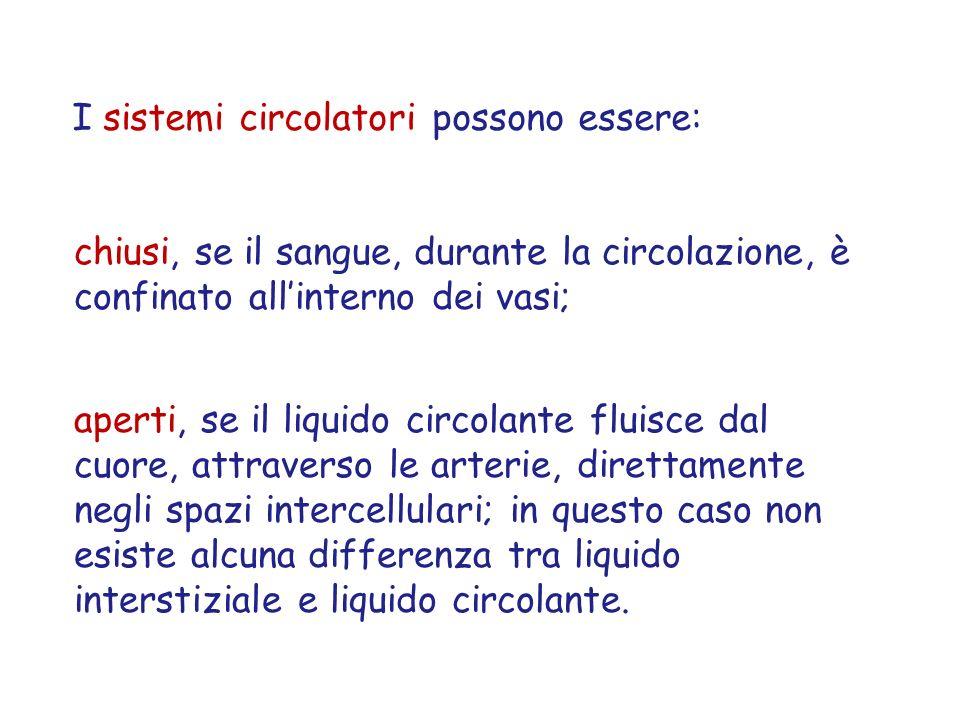 I sistemi circolatori possono essere: