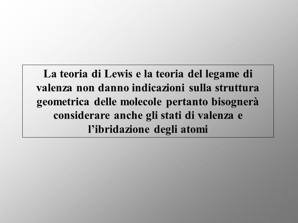 La teoria di Lewis e la teoria del legame di valenza non danno indicazioni sulla struttura geometrica delle molecole pertanto bisognerà considerare anche gli stati di valenza e l'ibridazione degli atomi