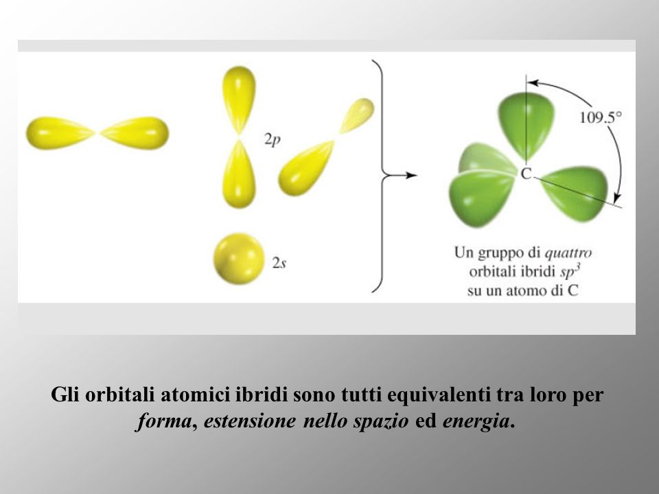 Gli orbitali atomici ibridi sono tutti equivalenti tra loro per forma, estensione nello spazio ed energia.