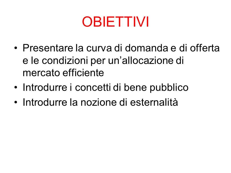 OBIETTIVI Presentare la curva di domanda e di offerta e le condizioni per un'allocazione di mercato efficiente.