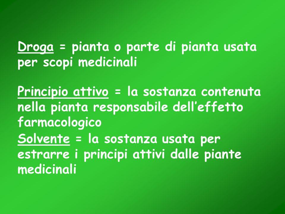 Droga = pianta o parte di pianta usata per scopi medicinali