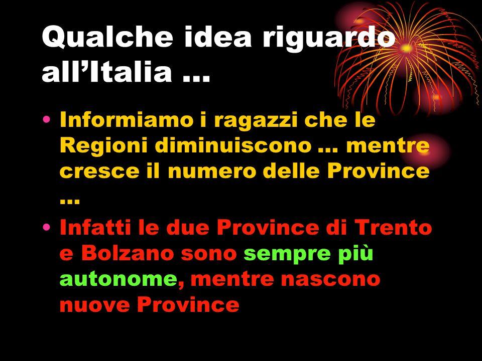 Qualche idea riguardo all'Italia …