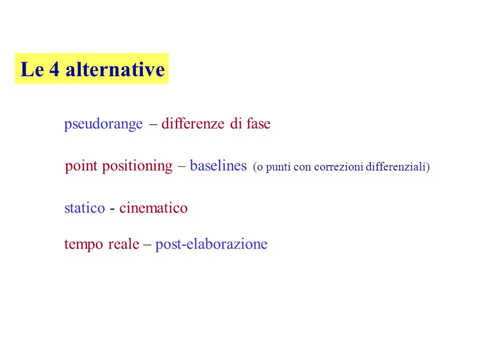 Le 4 alternative pseudorange – differenze di fase