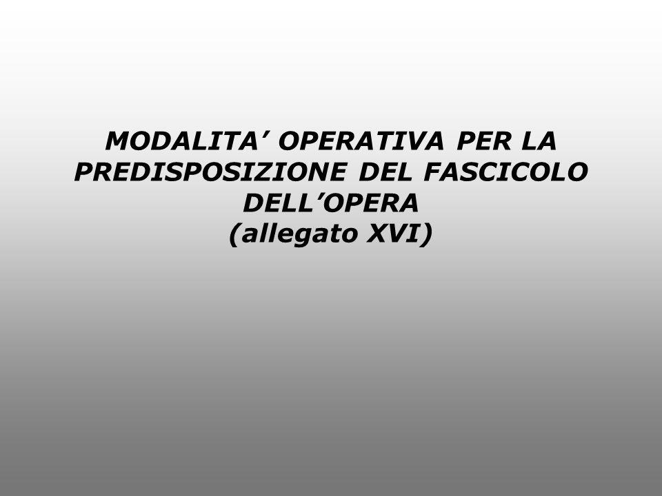 MODALITA' OPERATIVA PER LA PREDISPOSIZIONE DEL FASCICOLO DELL'OPERA