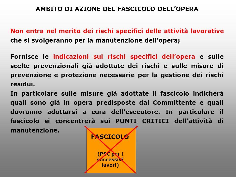 AMBITO DI AZIONE DEL FASCICOLO DELL'OPERA