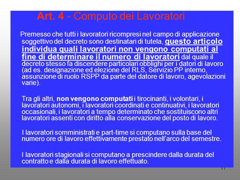 Art. 4 - Computo dei Lavoratori