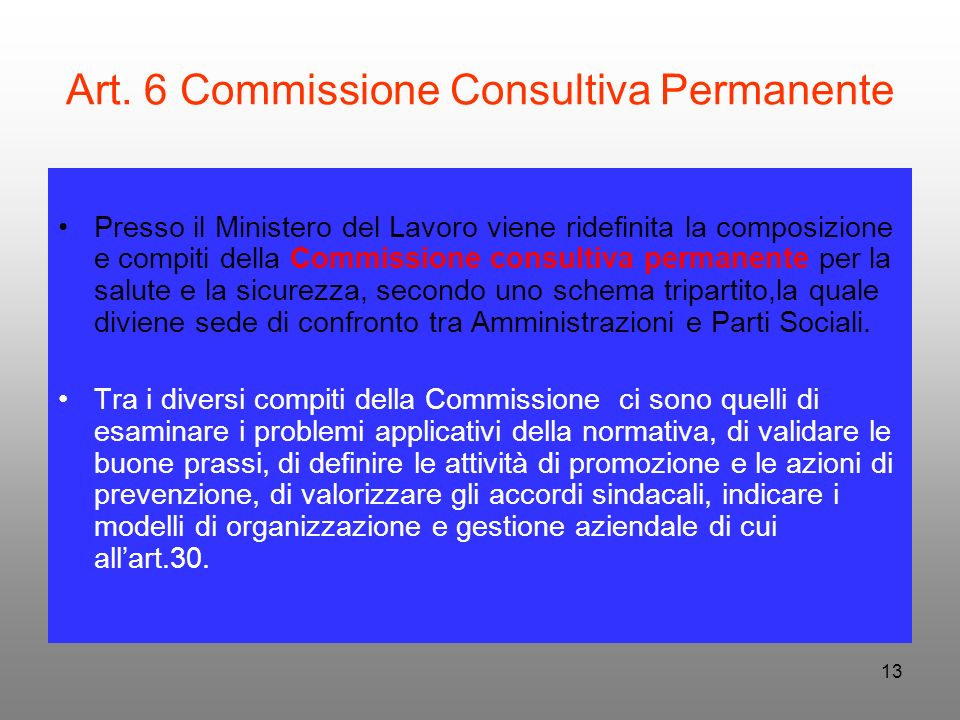 Art. 6 Commissione Consultiva Permanente