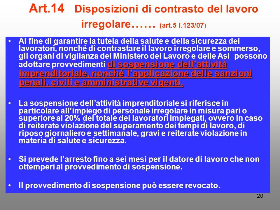 Art. 14 Disposizioni di contrasto del lavoro irregolare…… (art. 5 l