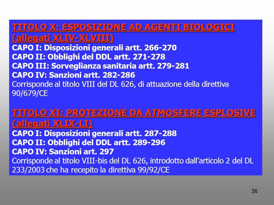 TITOLO X: ESPOSIZIONE AD AGENTI BIOLOGICI (allegati XLIV-XLVIII)