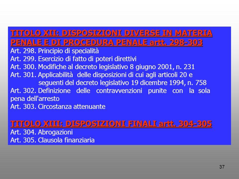 TITOLO XIII: DISPOSIZIONI FINALI artt. 304-305