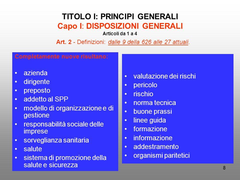 TITOLO I: PRINCIPI GENERALI Capo I: DISPOSIZIONI GENERALI Articoli da 1 a 4