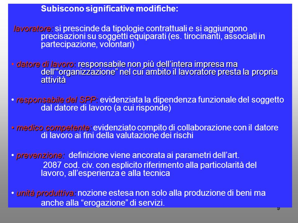 Subiscono significative modifiche: