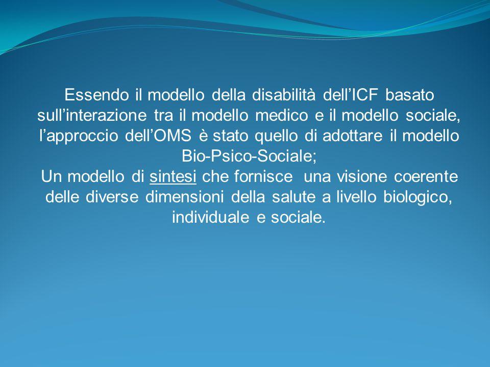 Essendo il modello della disabilità dell'ICF basato sull'interazione tra il modello medico e il modello sociale, l'approccio dell'OMS è stato quello di adottare il modello Bio-Psico-Sociale;