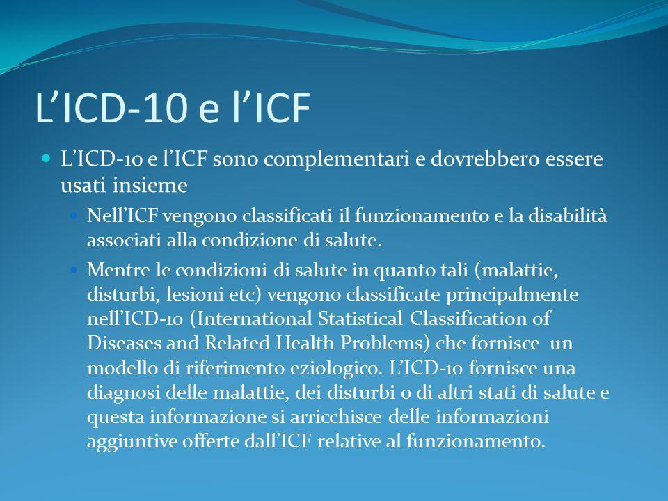 L'ICD-10 e l'ICF L'ICD-10 e l'ICF sono complementari e dovrebbero essere usati insieme.