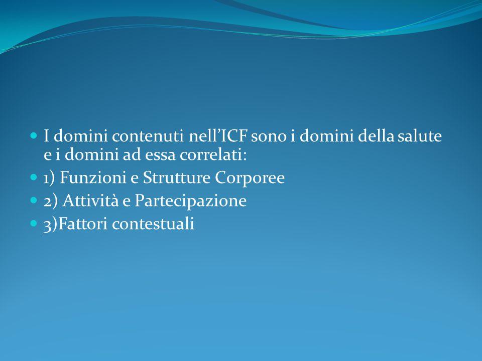 I domini contenuti nell'ICF sono i domini della salute e i domini ad essa correlati: