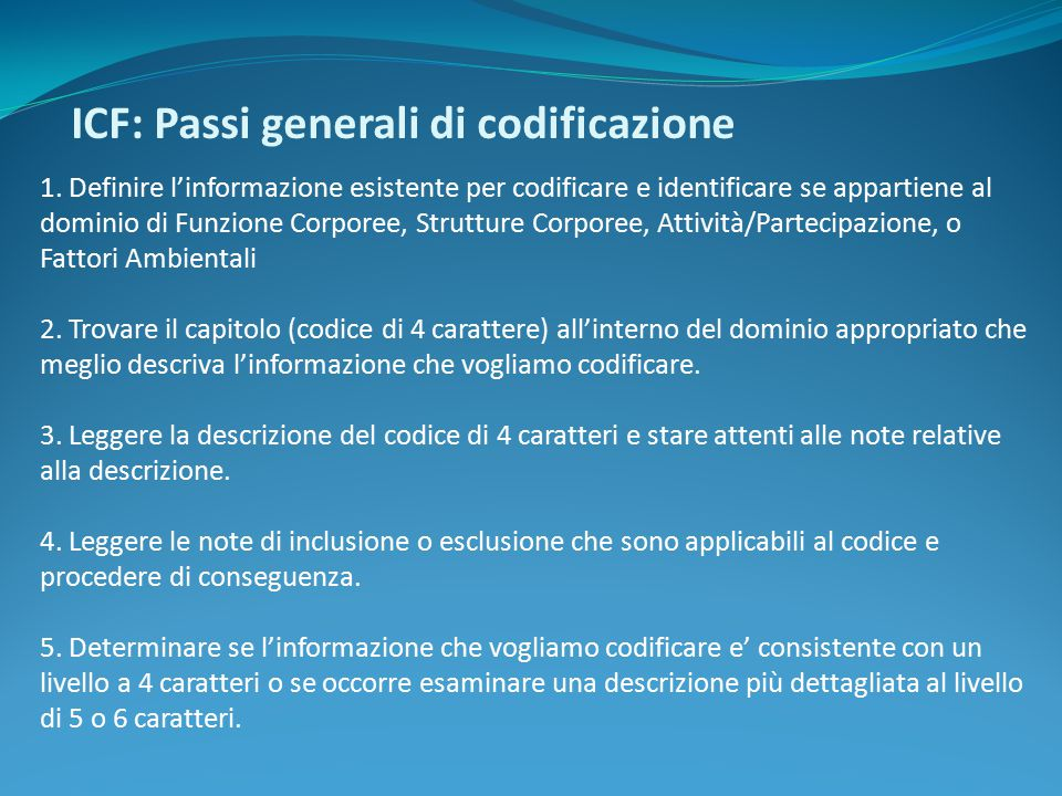 ICF: Passi generali di codificazione