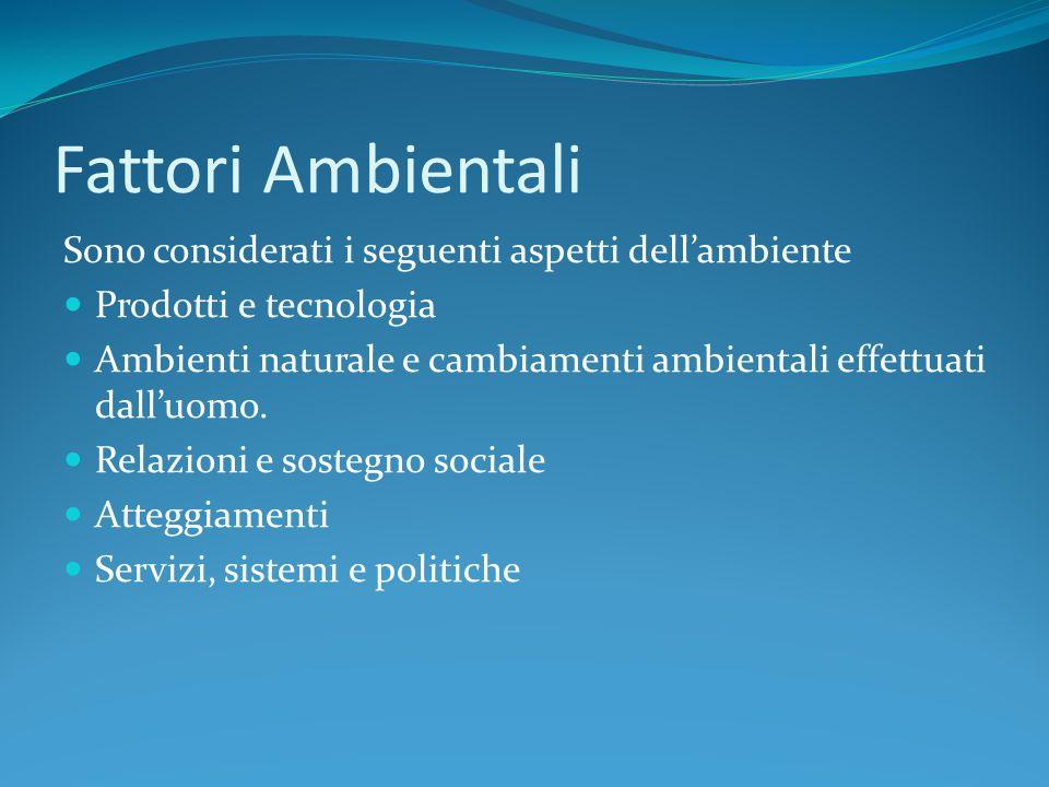 Fattori Ambientali Sono considerati i seguenti aspetti dell'ambiente