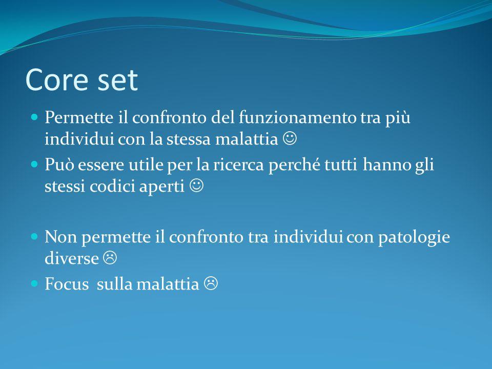Core set Permette il confronto del funzionamento tra più individui con la stessa malattia 
