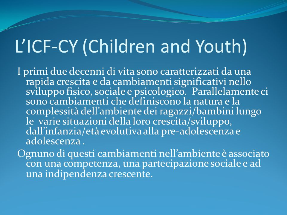 L'ICF-CY (Children and Youth)