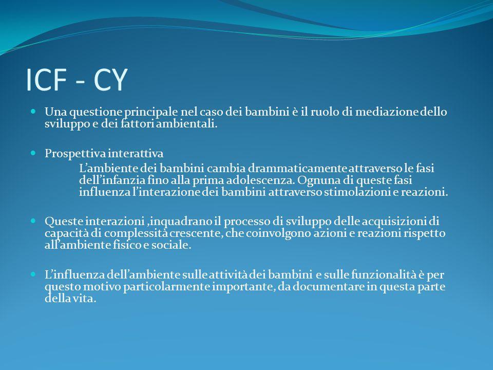 ICF - CY Una questione principale nel caso dei bambini è il ruolo di mediazione dello sviluppo e dei fattori ambientali.