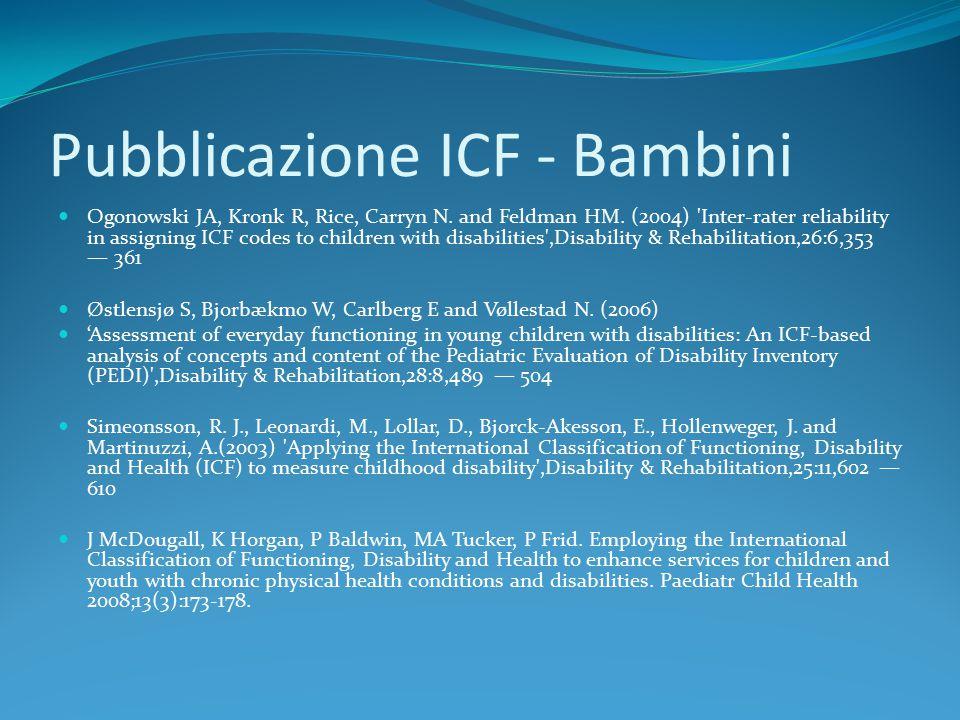 Pubblicazione ICF - Bambini