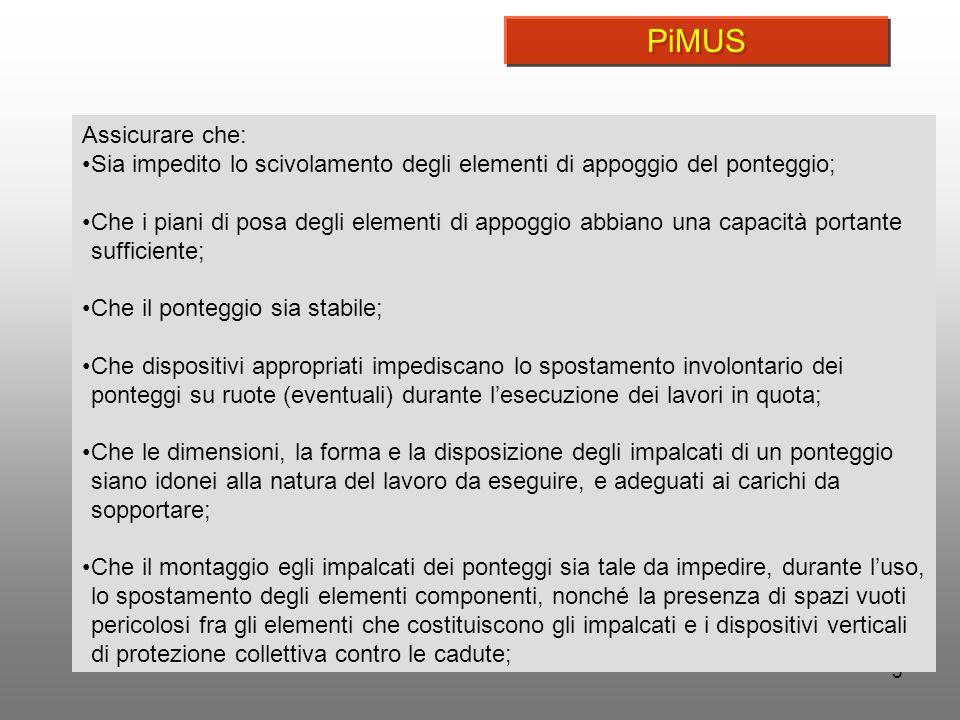 PiMUS Assicurare che: Sia impedito lo scivolamento degli elementi di appoggio del ponteggio;