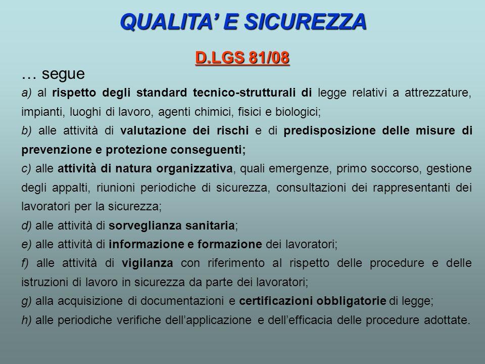 QUALITA' E SICUREZZA D.LGS 81/08 … segue