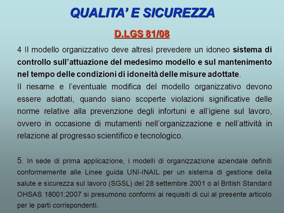 QUALITA' E SICUREZZA D.LGS 81/08